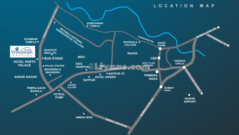 Location Map of Nirman's Vrindavan Gardens